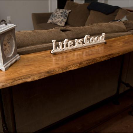 Live Edge Cypress Sofa Table