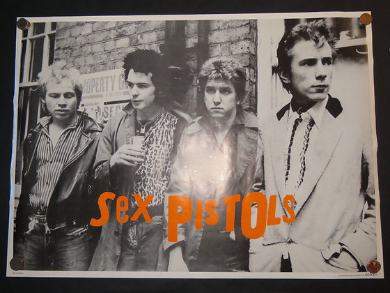 Sex Pistols monochrome poster with bright orange logo