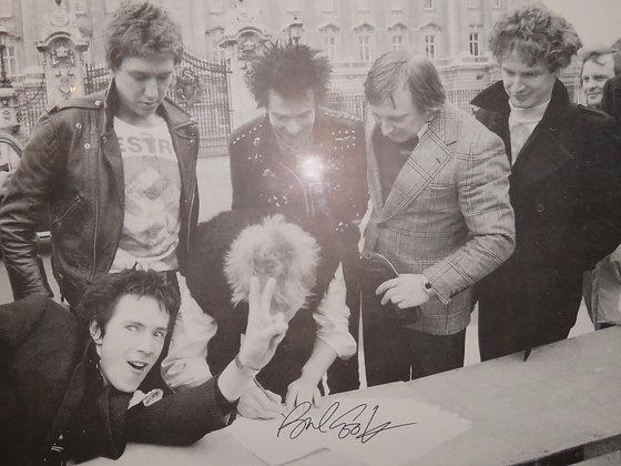 Sex Pistols signing to EMI outside Buckingham Palace