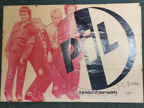 PIL...Ultra rare promo poster signed by Johnny Rotten.