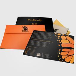 Black Butterfly Event Invitation, RSVP, Envelope designs