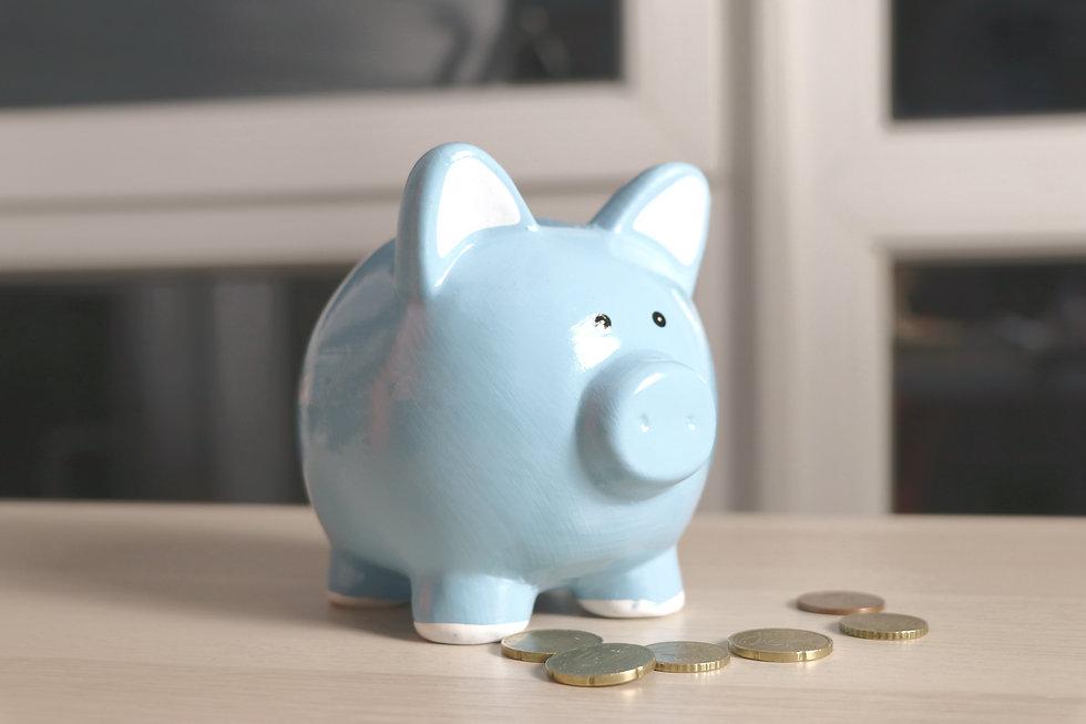 blue piggy bank near coin lot close-up p