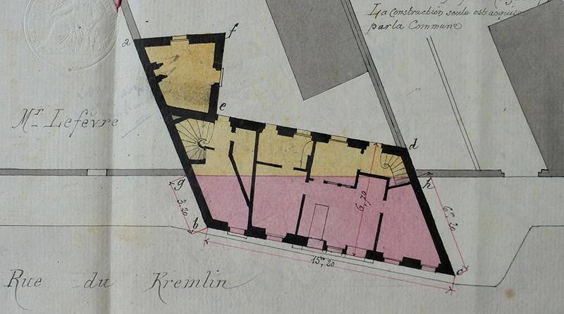 Plan du rez-de-chaussée, annexé à l'acte de vente de 1890.