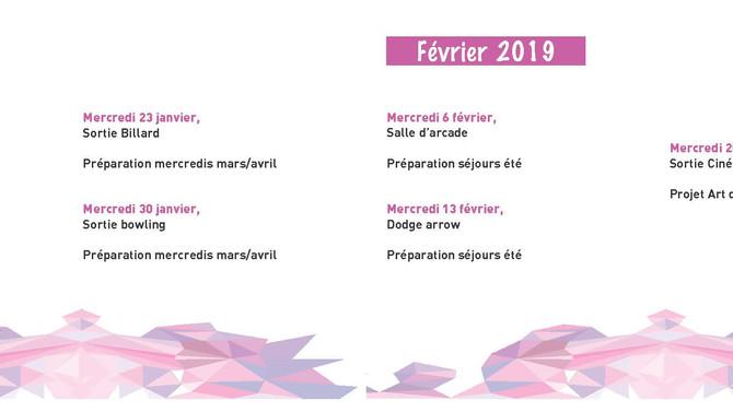 Programme des Mercredis de Janvier et Février 2019