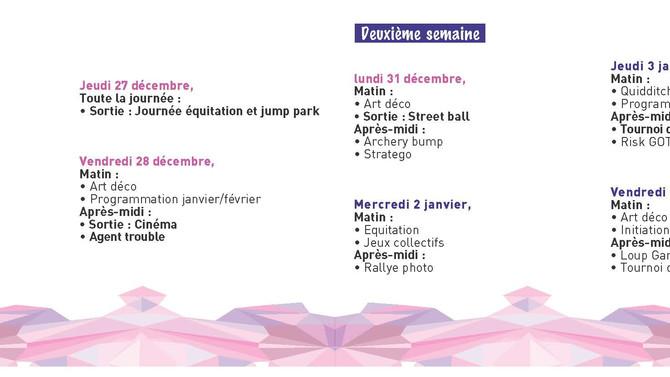 Programme des vacances de Noël 2018
