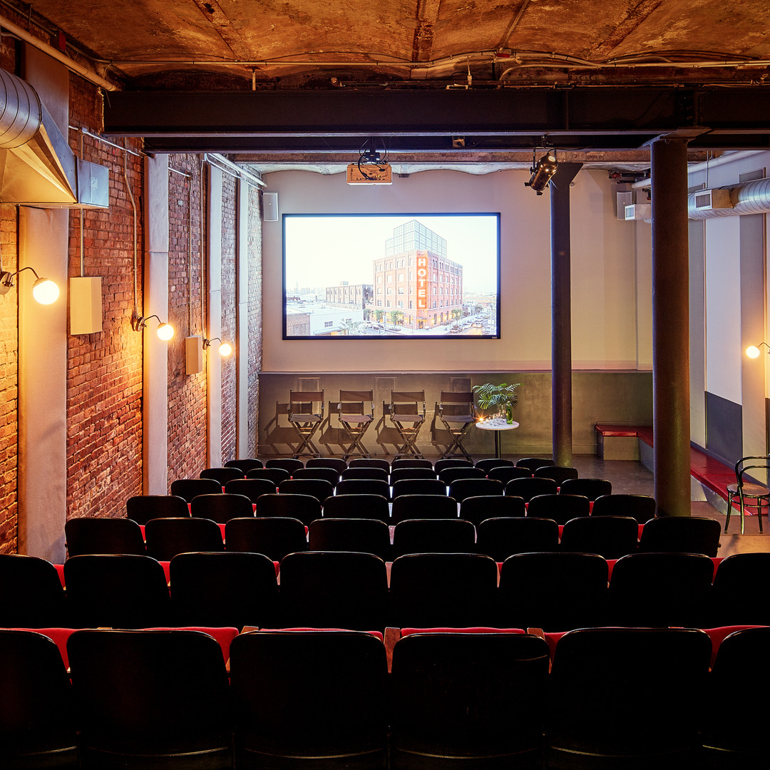 Screening room theater seating with buidling displayed on screen