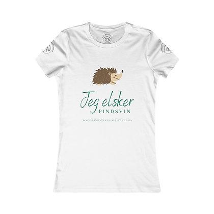 Bomulds T-shirt til kvinder (Jeg elsker pindsvin)