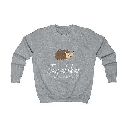 Bomulds sweatshirt til børn (Jeg elsker pindsvin)