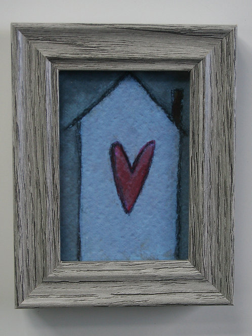 """home is where the heart is 2.5x3.5"""" limited edition print in gray frame."""