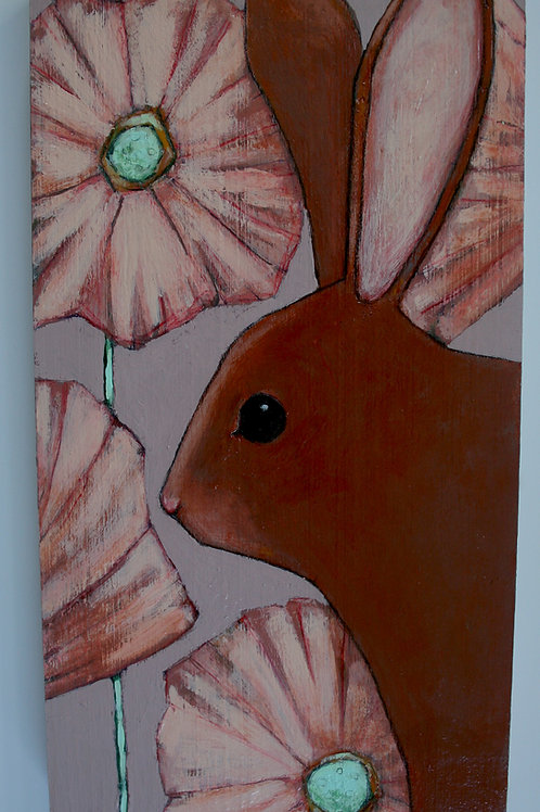 original bunny rabbit in pink flowers painting wall art on reclaimed wood