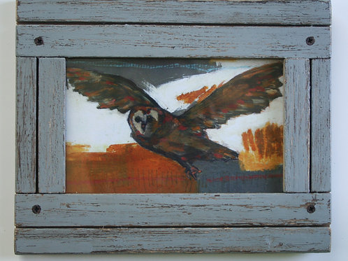 """limited edition 4x6"""" flying owl giclee print in distressed wood rustic frame"""