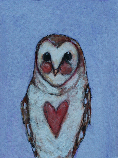 """little owl  2x3"""" limited edition print in white frame.  comes in gift box."""