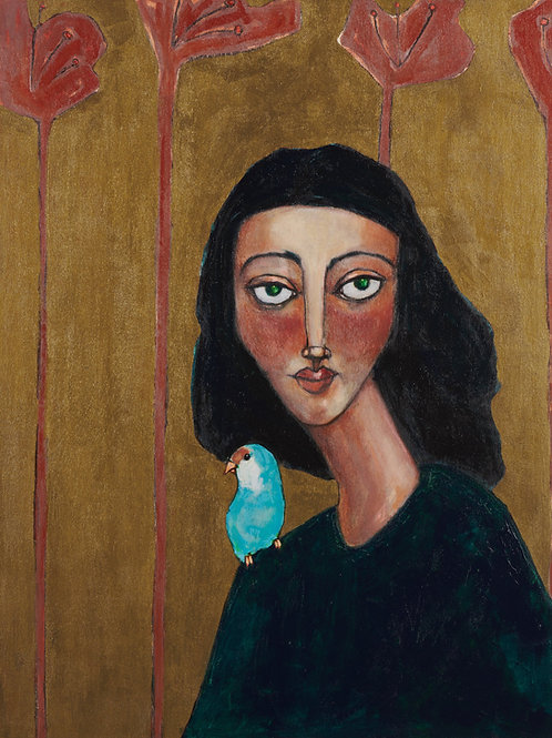 "original woman and lovebird portrait painting on 18x24"" birch wood. wall artwork"