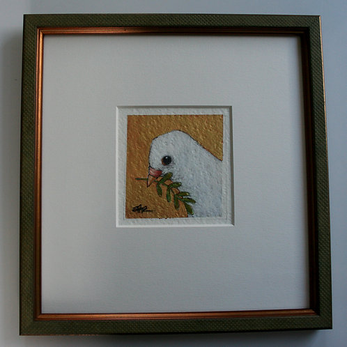 "original dove of peace bird 3x3"" painting on paper professional matted + framed"