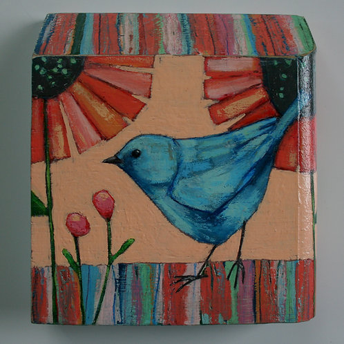 original blue bird colorful garden plants flowers painting textured wall art