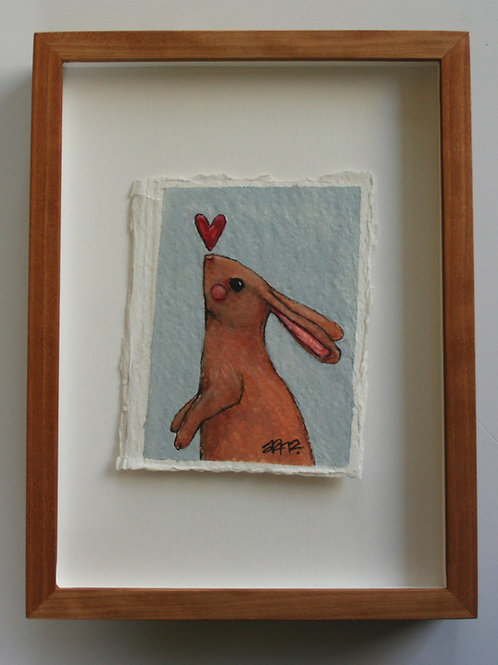 "original cute bunny rabbit with heart 3.25x4"" painting on paper shadow box frame"