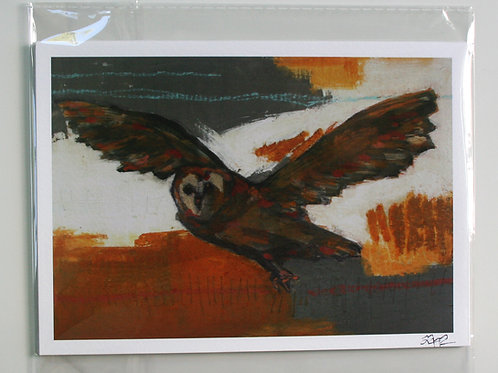 "limited edition 5x7"" flying owl bird in flight giclee print in resealable sleeve"