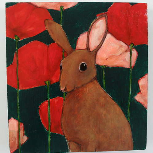 original bunny rabbit in poppies flowers painting on repurposed wood wall art