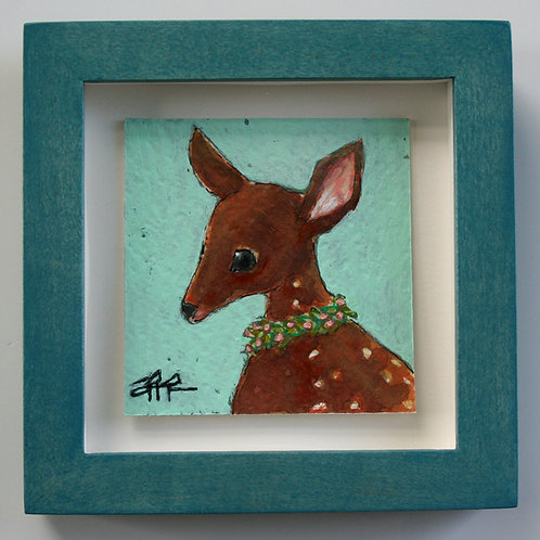 """original cute baby deer fawn with garland 3x3"""" painting on paper in teal frame"""