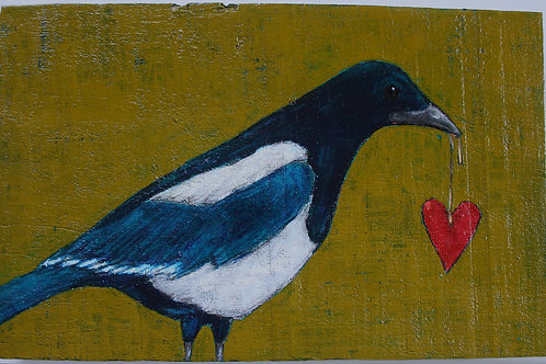 original magpie bird with heart on a string painting on vintage wood
