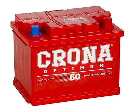 Аккумулятор CRONA 60R 500 А обр. пол. 60 Ач (6CT-60)