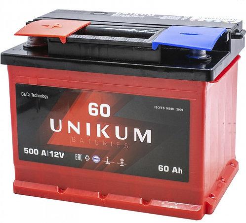 Аккумулятор UNIKUM 60 Ач 500 А прямая полярность