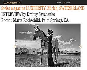 INTERVIEW by Dmitry Savchenko for a wonderful swiss magazine LUXFERITY, Zürich, Switzerland.