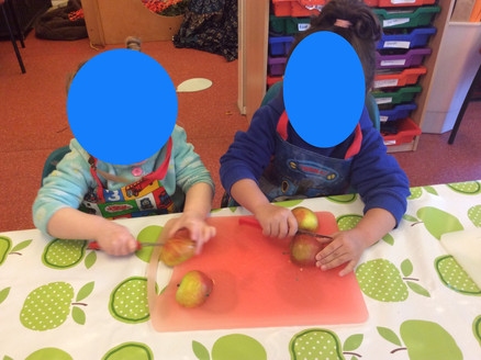 Peeling apples for our crumble