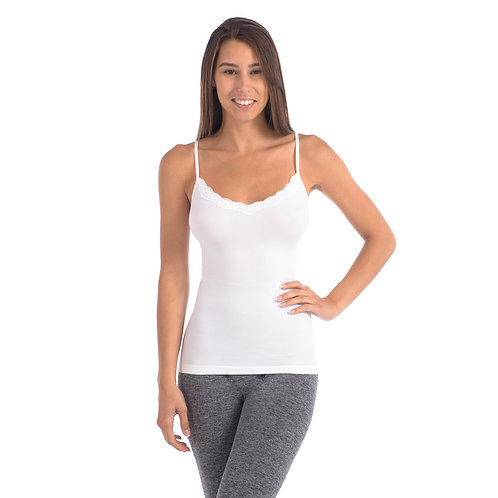 Seamless Slimming Camisole With Lace Trim at Neckline - White