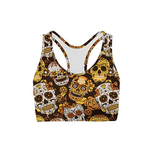 Orange Sugar Skulls Back Color Sports Bra
