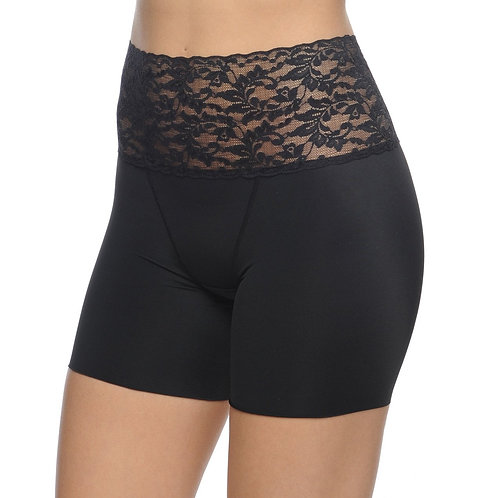 Boy Short Slimmer With Lace Waist Band Black