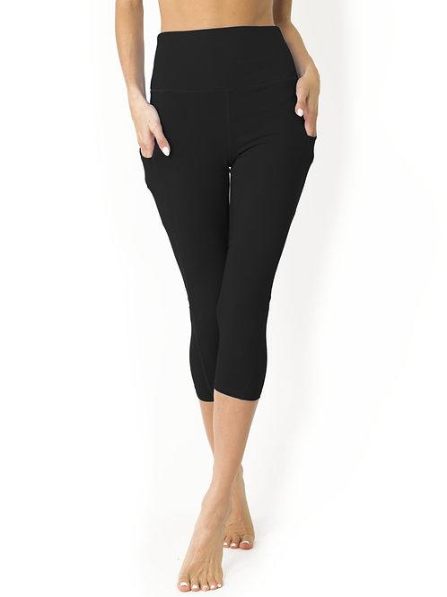 High Waisted Yoga Capri Leggings - Black