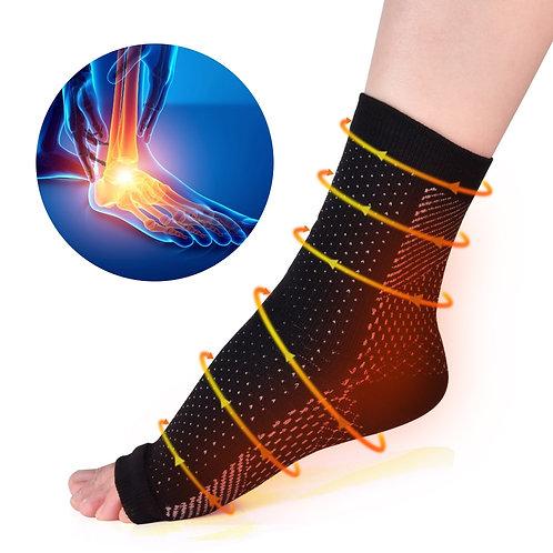 Anti-Fatigue Ankle /Heel Compression Sleeves - 2 Pair Set