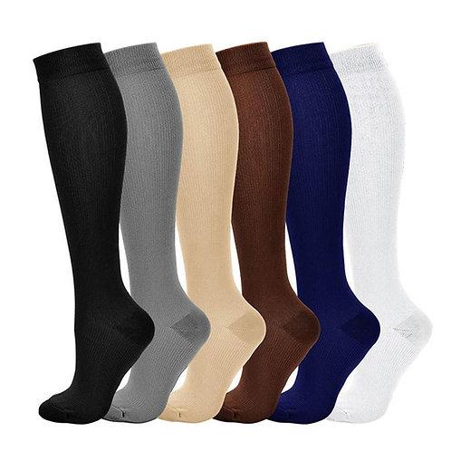 Unisex Solid Color Nylon Compression Socks