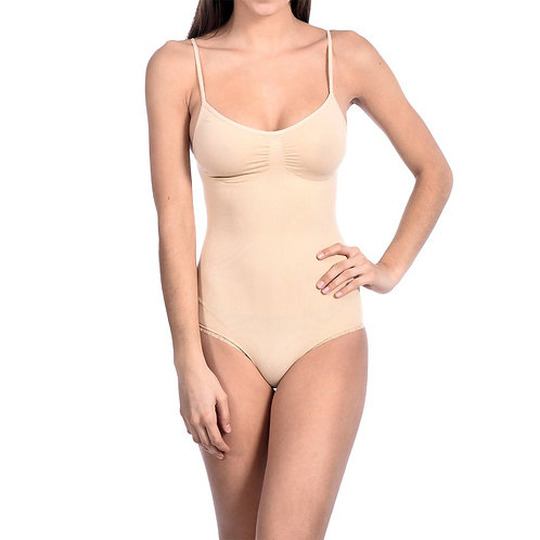 Seamless Shaping Body Suit With Thong Bottom Nude