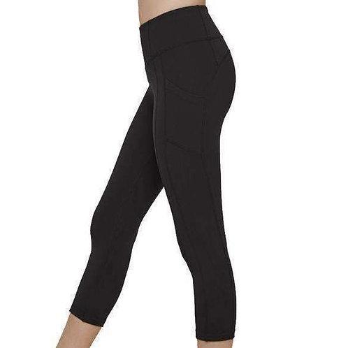 Black Live in CAPRI Length Leggings (Side Thigh Pockets)