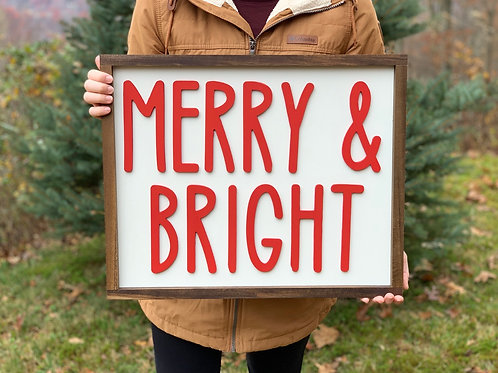 Merry & Bright sign - Christmas 2020 Collection