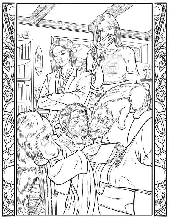 """""""A Night In"""" Coloring Book Page"""