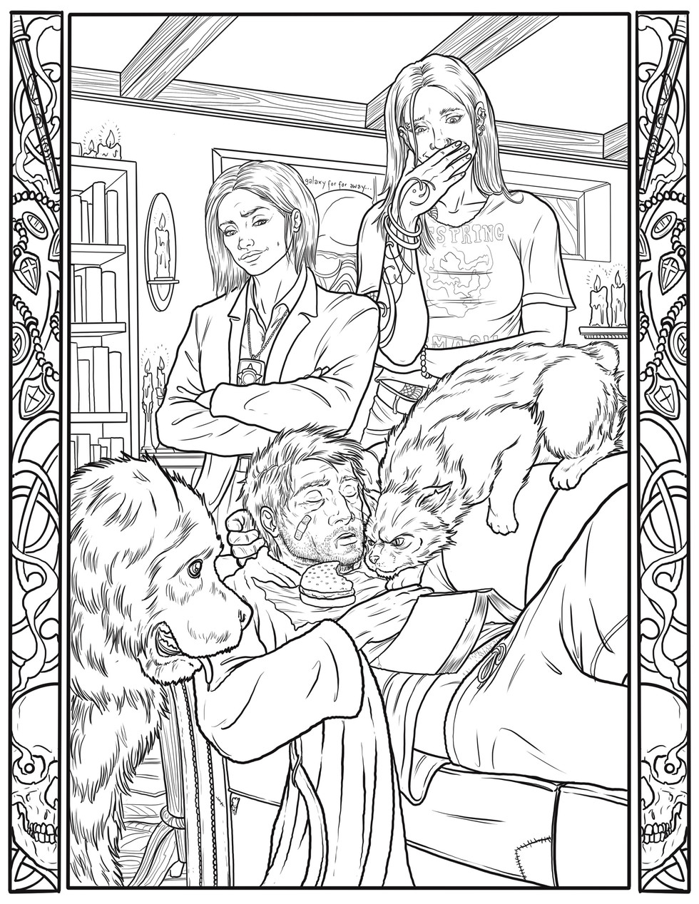 """A Night In"" Coloring Book Page"