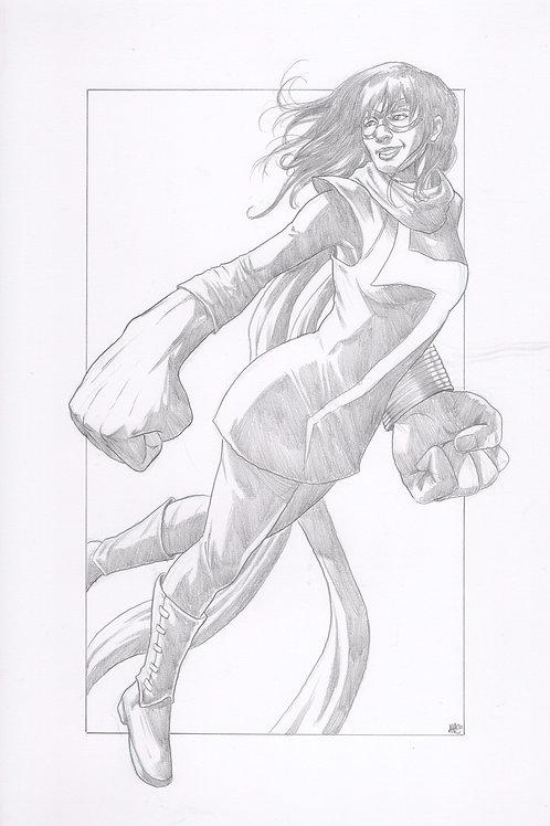 """""""Ms. Marvel"""" Original Pencil Illustration"""