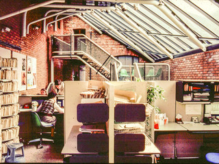 1982: Interior of Office and Reception area, 20 Billing Road