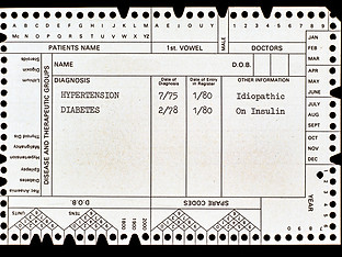 Disease Register on front of card