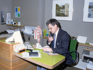 The bespoke plywood desk designed by Peter Aldington.