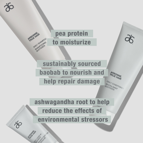 Arbonne True Hair Daily Shampoo, Conditioner, and Leave-In Treatment