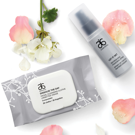 Arbonne Dissolve the Day Facial Cleansing Cloths & Let It Set Finishing Spray