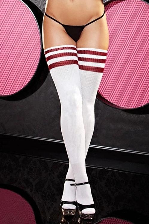 White and Red Stripe Rib Knit Thigh High Socks