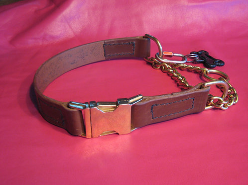 Training Collar With Chain - Deluxe Brown