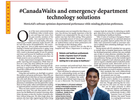 #CanadaWaits and emergency department technology solutions.