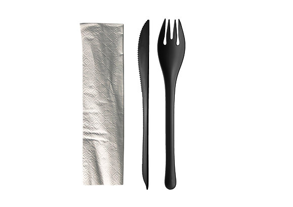 EKO Set 2 Black : Fork, knife and napkin (50 units)