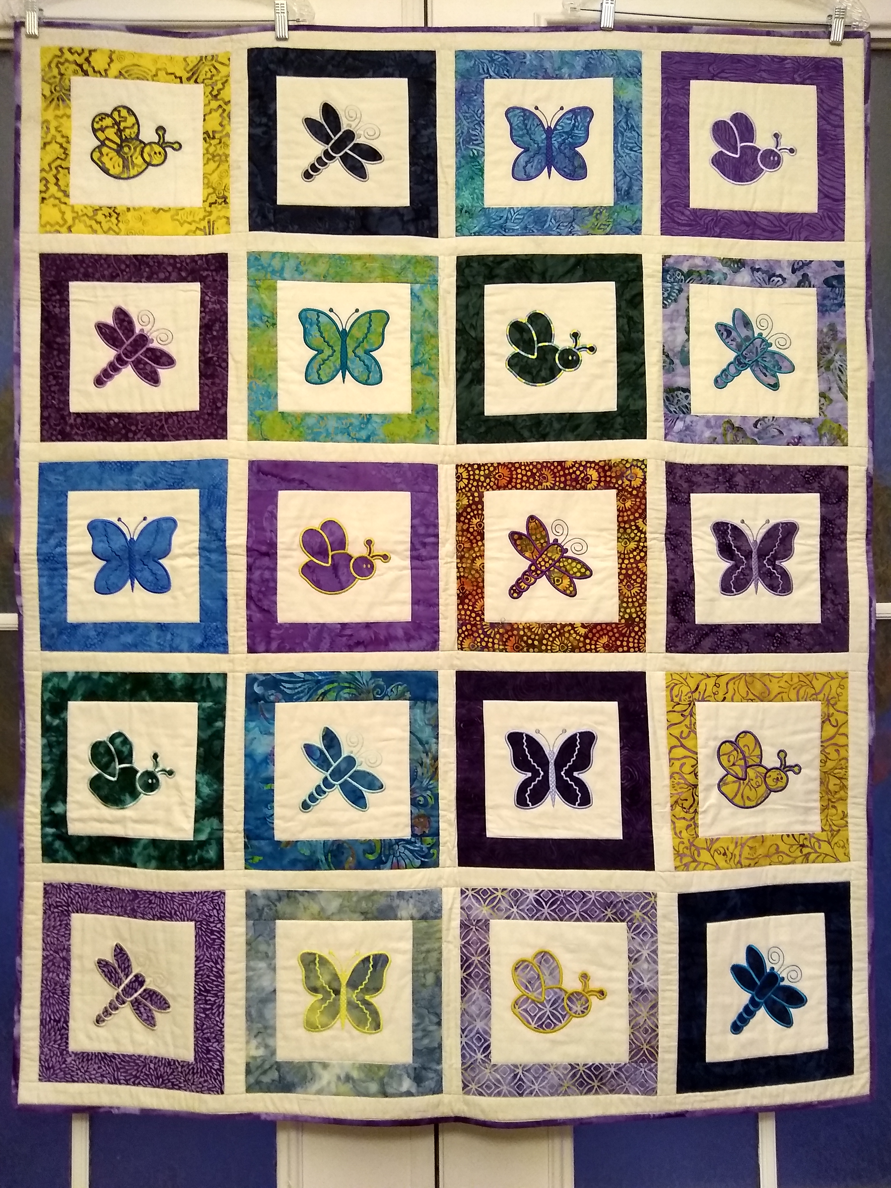 Butterfly, dragonfly, bee quilt